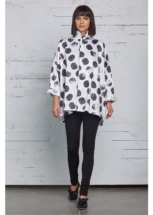 PLANET by Lauren G Planet Signature Shirt in Black and White dots