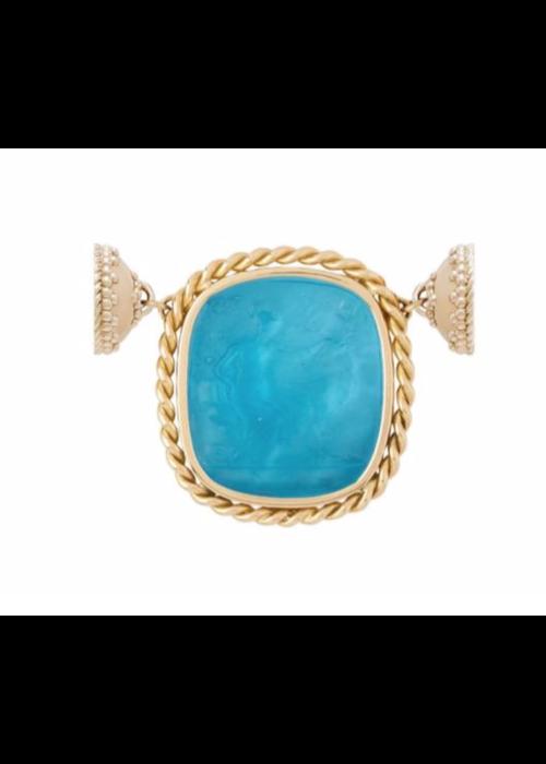Clara Williams Clara Williams 14K Italian Glass Royal Blue Diana Centerpiece w/ MOP