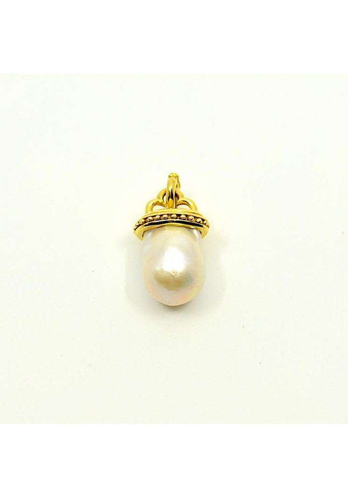 Mazza Freshwater Pearl Pendant set in 14k Gold Bead