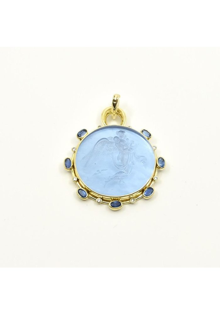 Mazza round pendant with etched angel, .24ct diamond and faceted kyanite, set in 14k gold