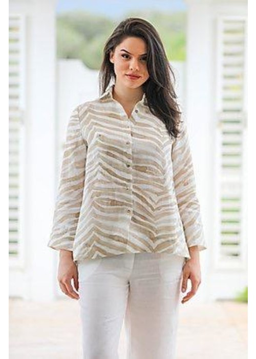 IL Button Down Shirt in Brown Zebra Print