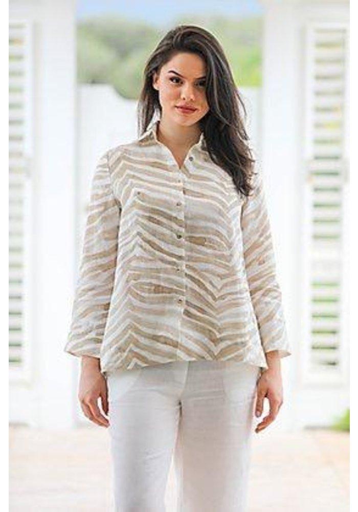Button Down Shirt in Brown Zebra Print
