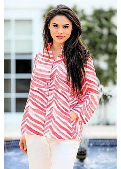 IL Button Down Shirt in Coral Zebra Print