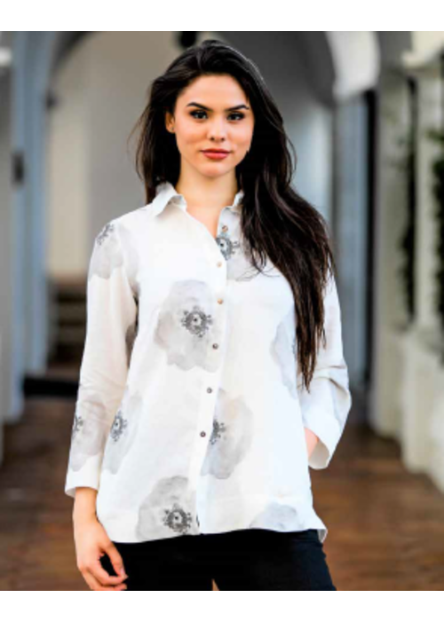 IL Button Down Shirt in Grey Flowers