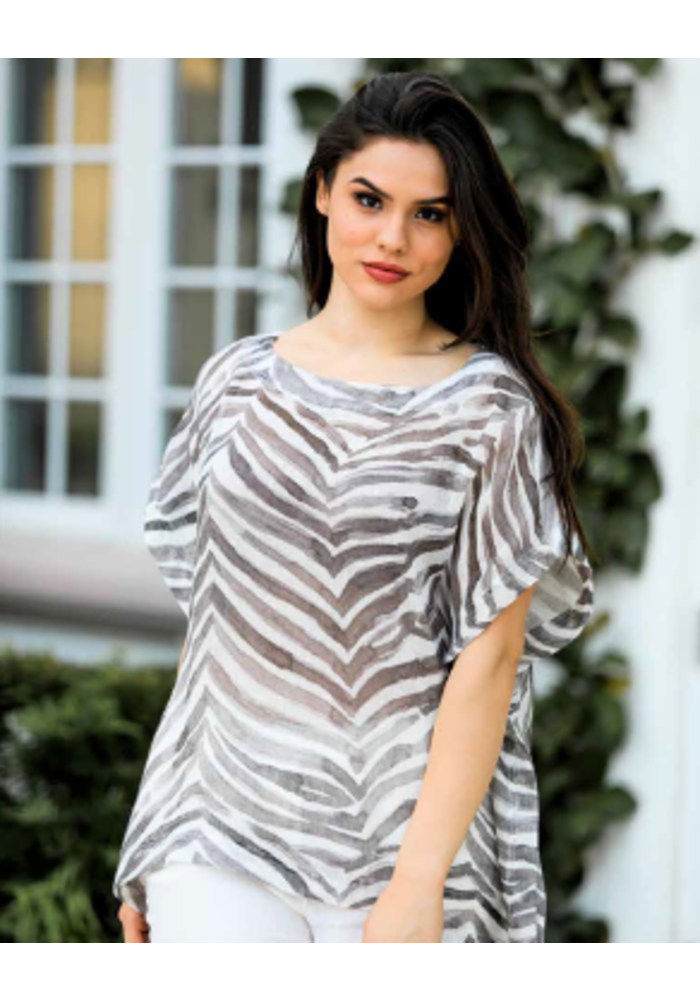Loose Fit Zebra Shirt, One Size