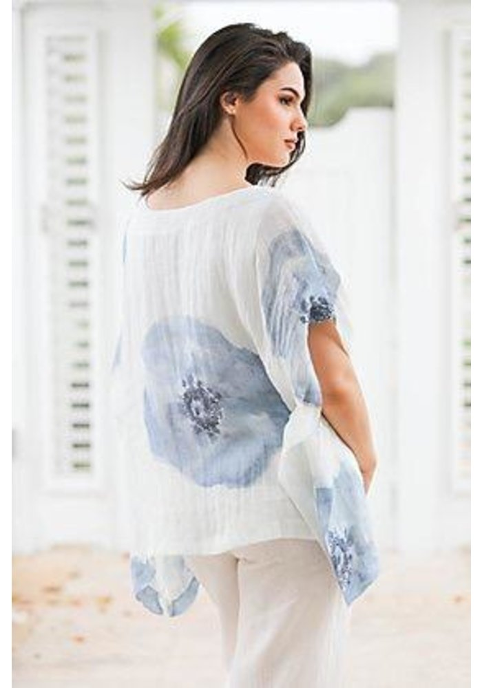 Loose Fit Flower Shirt, One Size