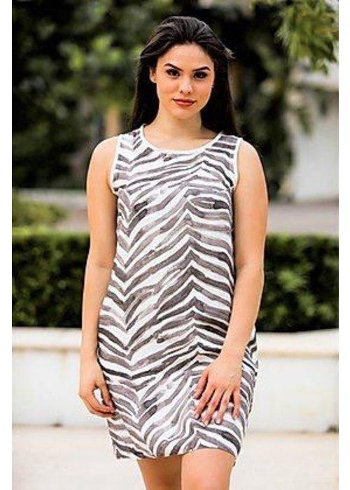 IL Linen Dress in Zebra Pattern