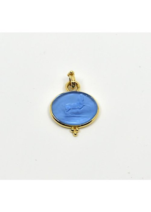 Mazza Mazza 14k gold pendant with Venetion Bluino Glass.