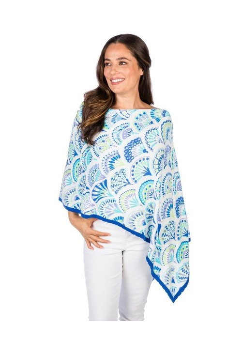 Caroline Grace Cotton Cashmere Shell Print Topper Blue Combo
