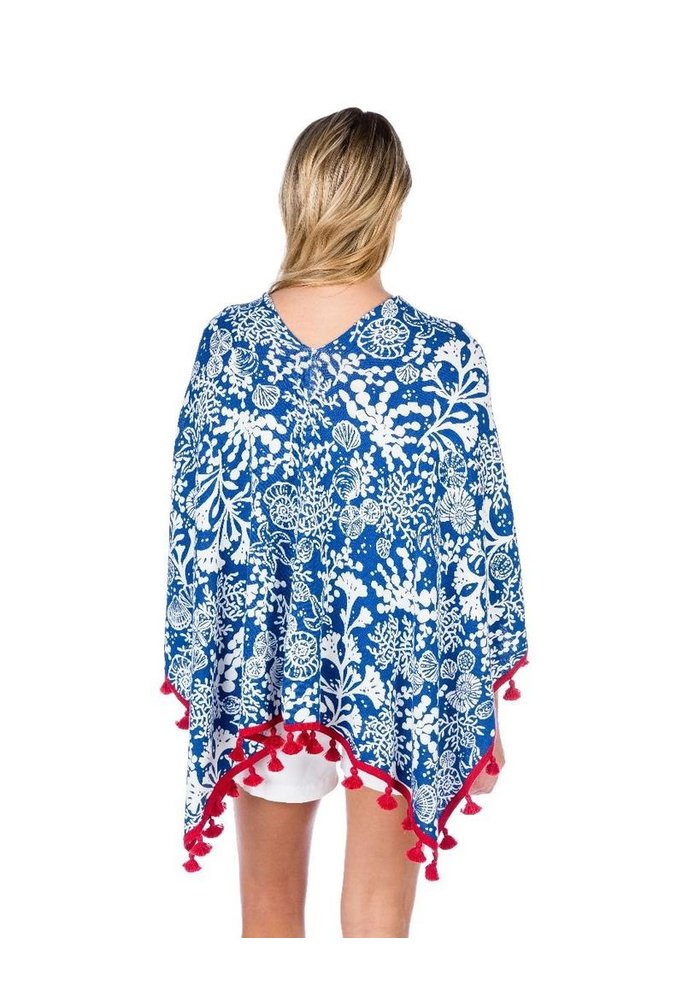 Cotton Cashmere Deep Sea Print Topper with Tassels Blue Combo