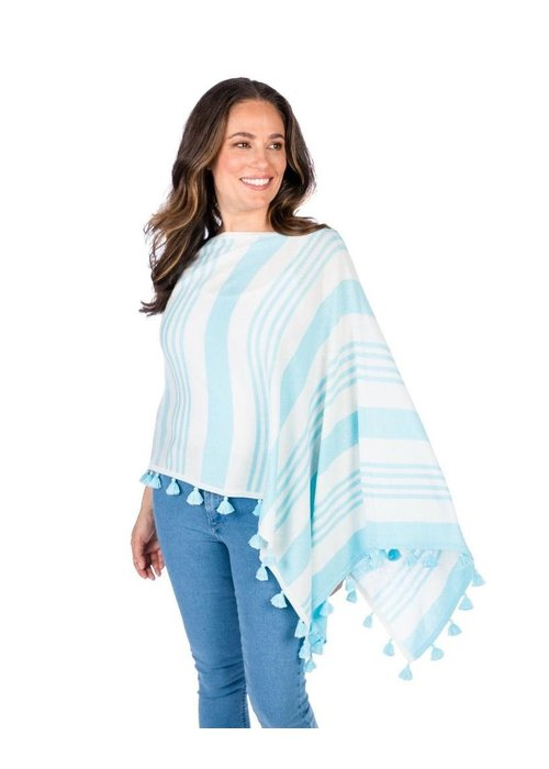 Caroline Grace Cotton Cashmere Regatta Stripe Tassel Trim Topper