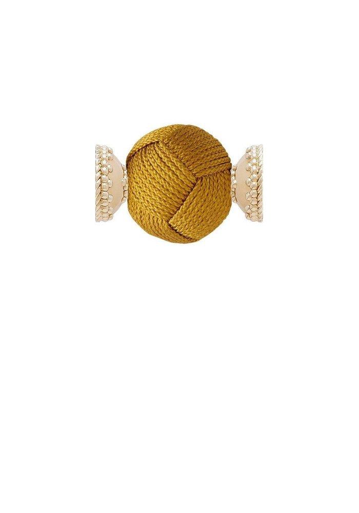 Woven Knot Mustard Gold 18mm Centerpiece