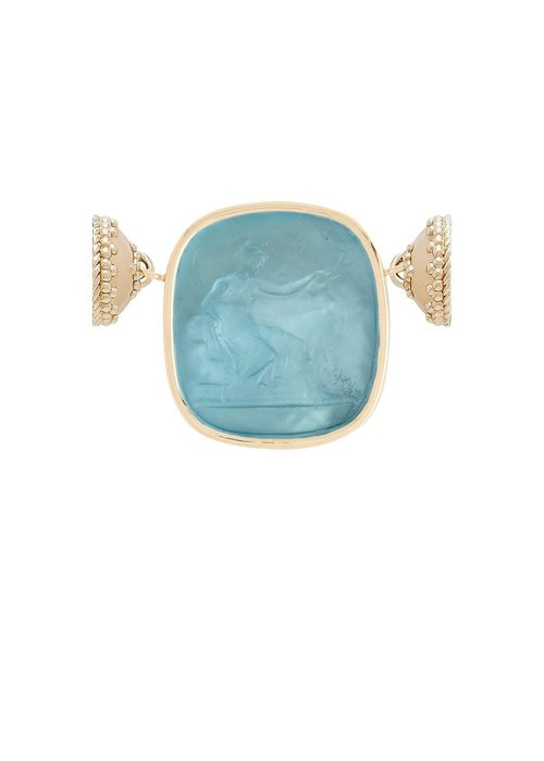 Clara Williams Italian Glass Blue Topaz Diana with Mother of Pearl