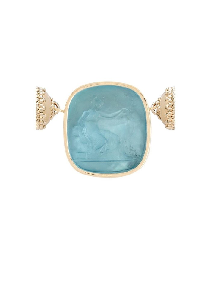 Italian Glass Blue Topaz Diana with Mother of Pearl