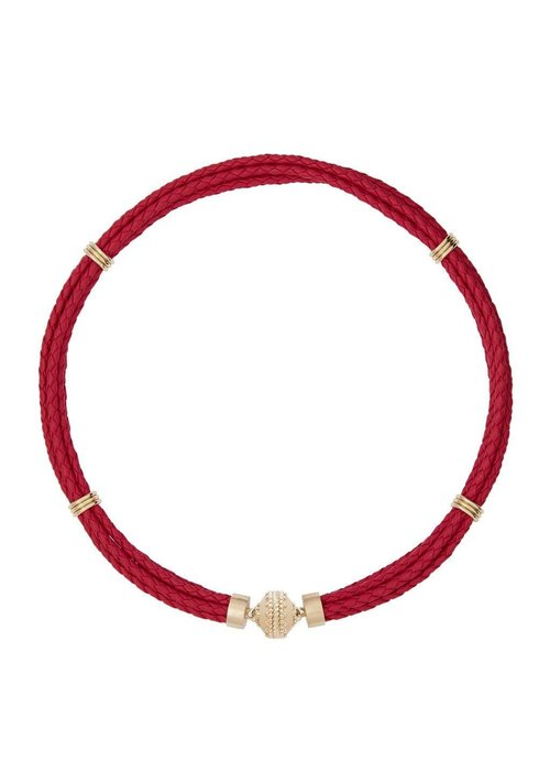 Clara Williams Aspen Braided Leather Pink Necklace