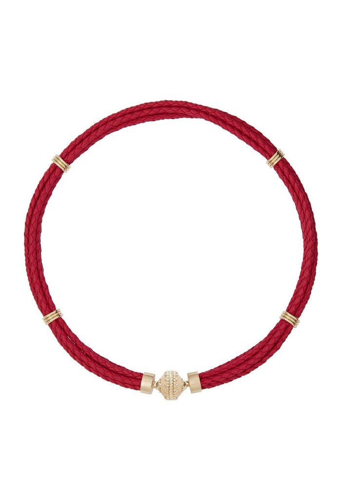 Aspen Braided Leather Pink Necklace