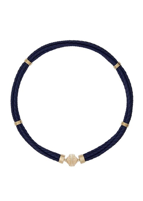 Clara Williams Aspen Braided Leather Navy Necklace