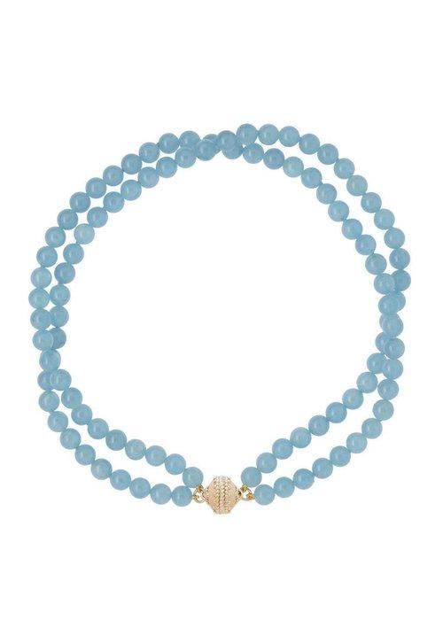 Clara Williams Victoire Aquamarine 8mm double strand necklace