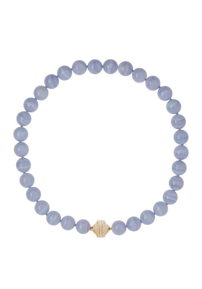 Victoire Blue Lace Agate 12mm Necklace