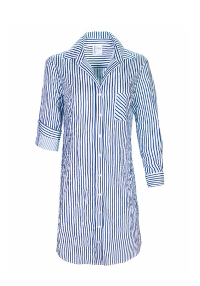Alex Shirtdress in Textured Fabric with Stripe
