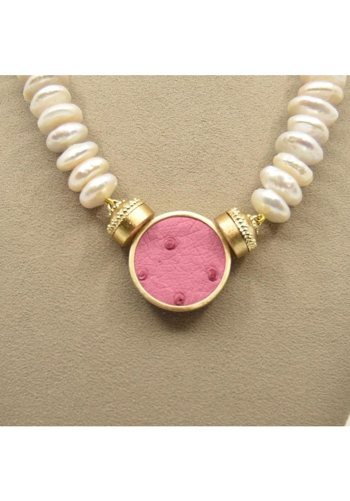 Maria Peony Pink Ostrich Leather & 14k plated Bezel Centerpiece