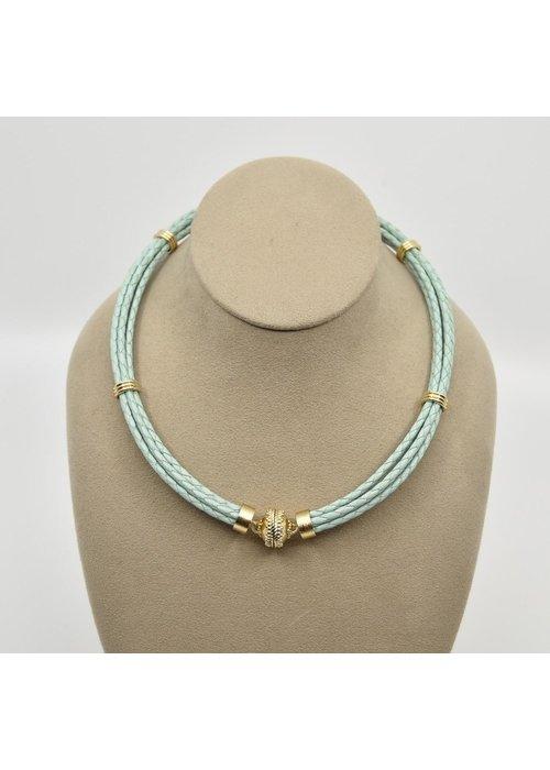 Clara Williams Aspen Braided Leather Sea Foam Green Necklace