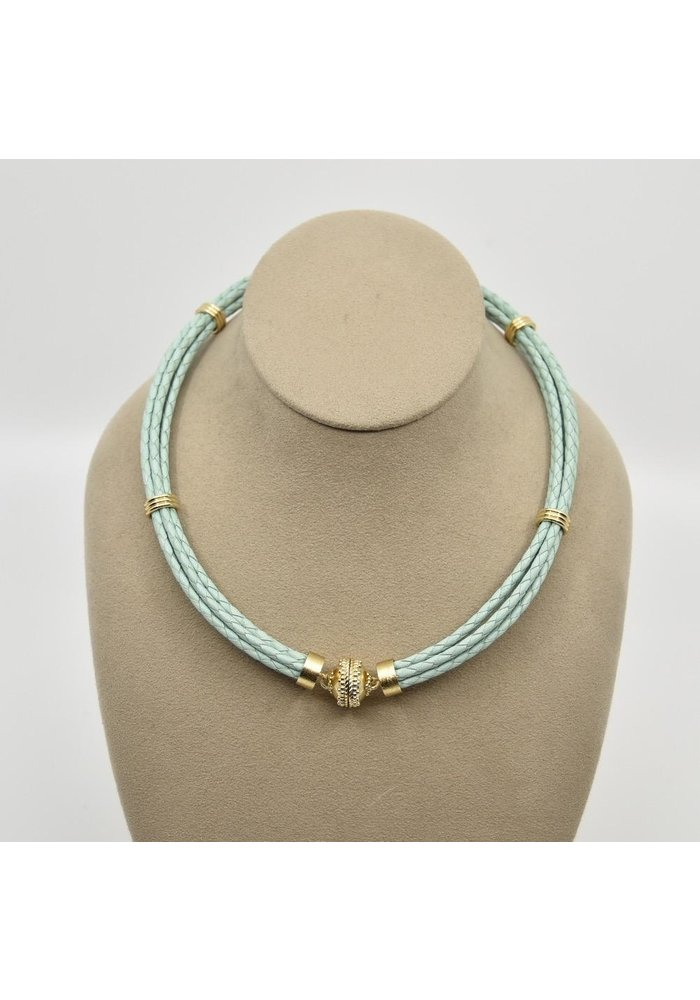 Aspen Braided Leather Sea Foam Green Necklace