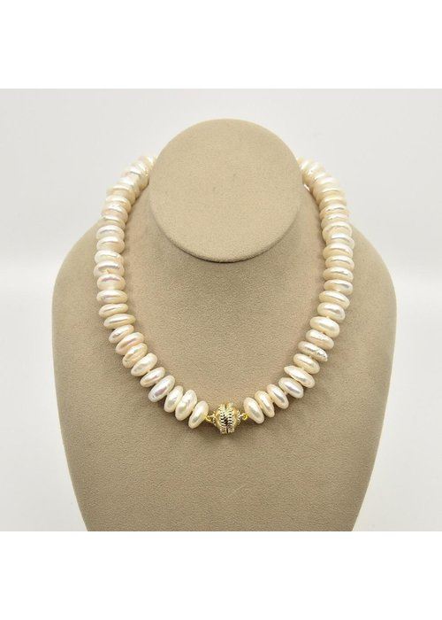 Clara Williams Freshwater White Coin Rhondelle Pearl Necklace
