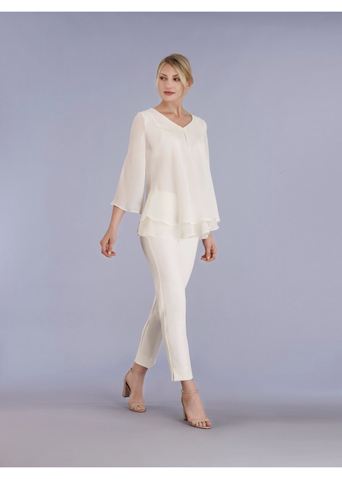 Estelle & Finn V Neck Chiffon Crepe Shirt with 3/4 Sleeve