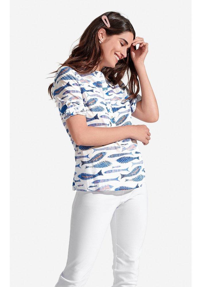 Freya Top in Sardines in Blue Sea Pattern
