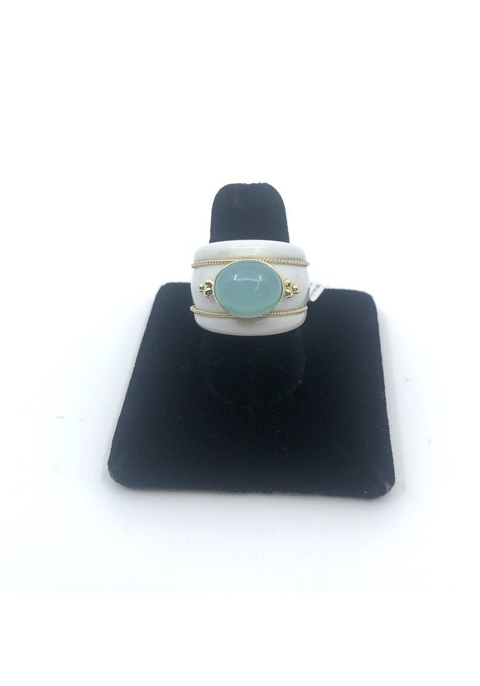 White Agate Ring with 14k and Blue-Green Calcedony Size 7.5