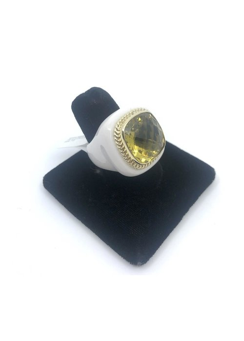 Raymond Mazza White Agate Ring with 14k and Lemon Quartz Size 7.5