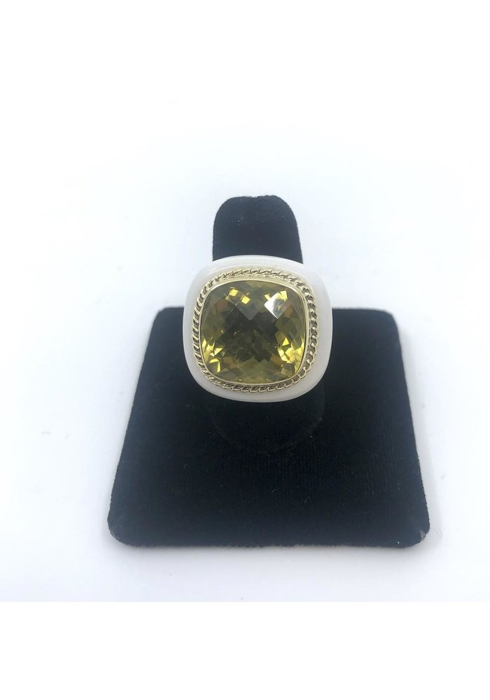 White Agate Ring with 14k and Lemon Quartz Size 7.5