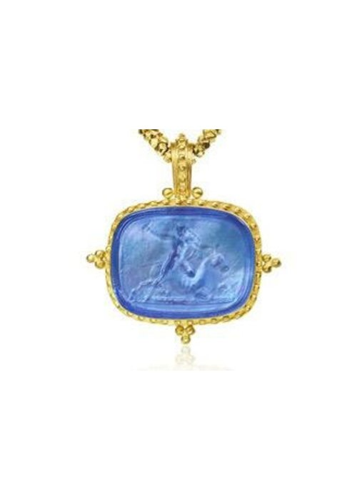 Fine Jewelry Mazza Murano Venetian Glass 14K Beaded Frame Pendant