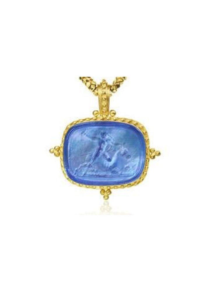 Mazza Murano Venetian Glass 14K Beaded Frame Pendant