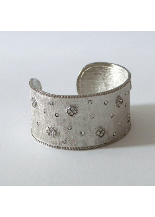Costume Jewelry Matte Silver Large Cuff w/Pave Tiny Flowers and CZ