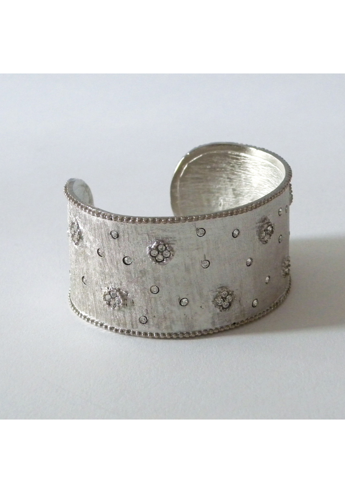 Matte Silver Large Cuff w/Pave Tiny Flowers and CZ