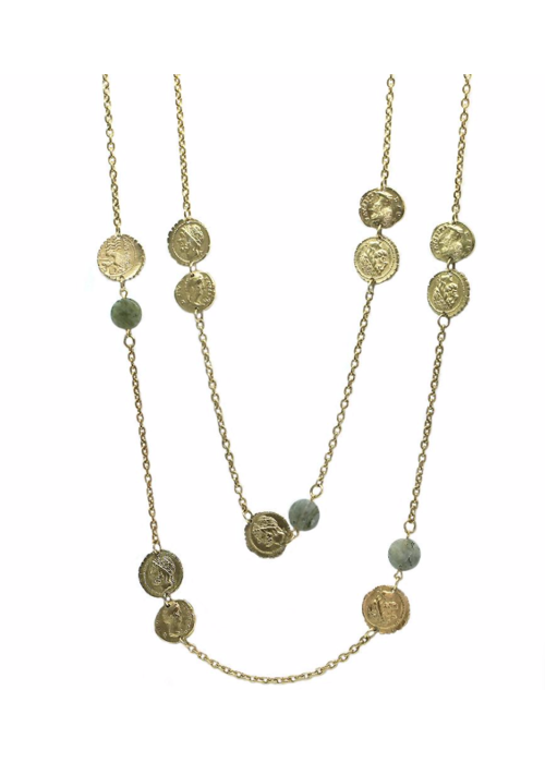 Tat2 Tat2 Gold & Labradorite Multi Coin Necklace