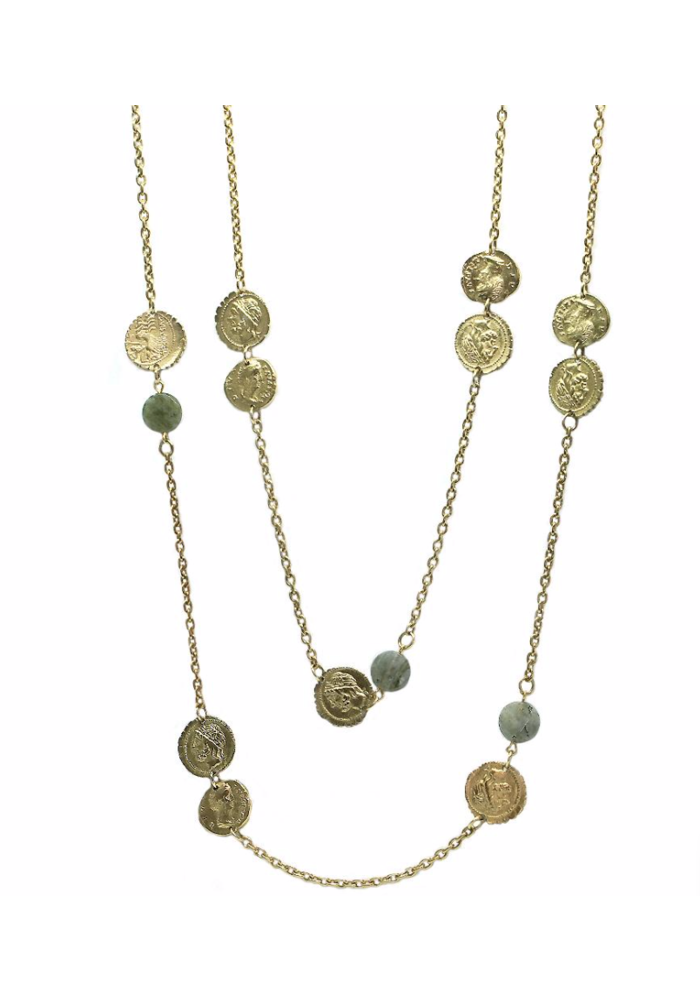 Tat2 Gold & Labradorite Multi Coin Necklace