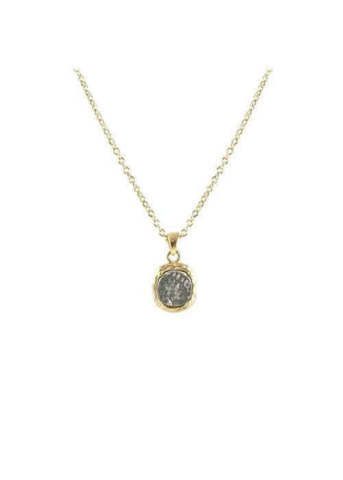 Tat2 Gold frame, bale & chain/VS coin/clear crystal necklace