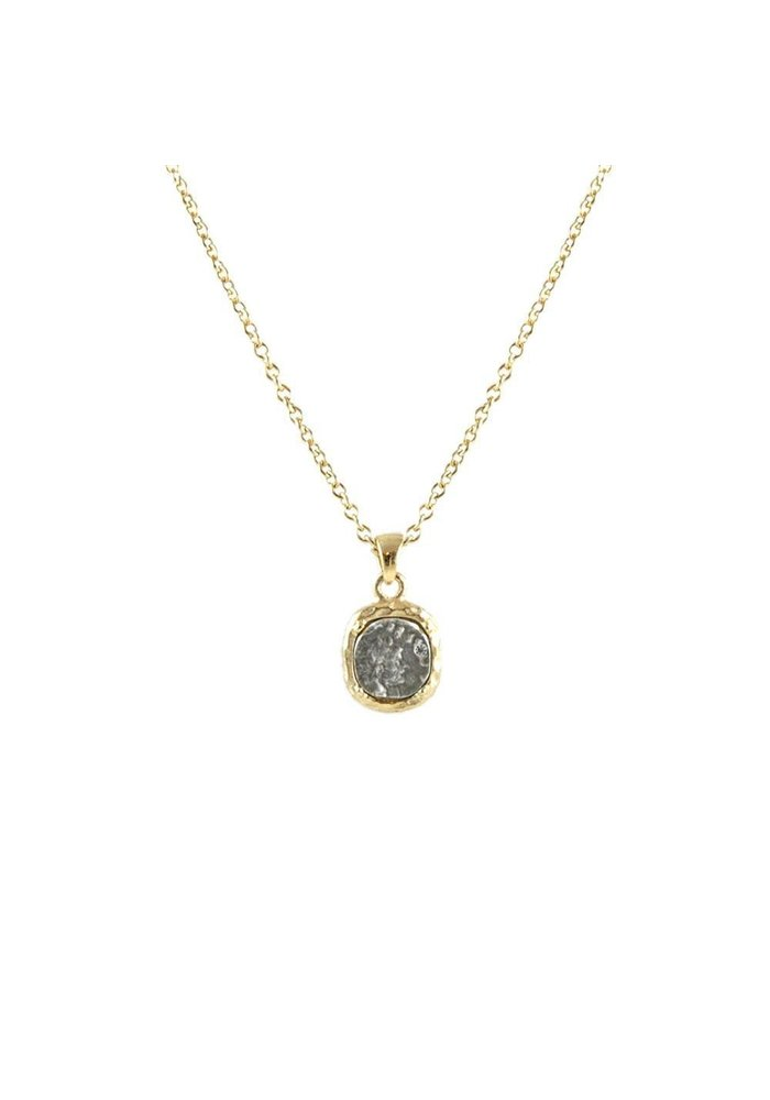 Gold frame, bale & chain/VS coin/clear crystal necklace