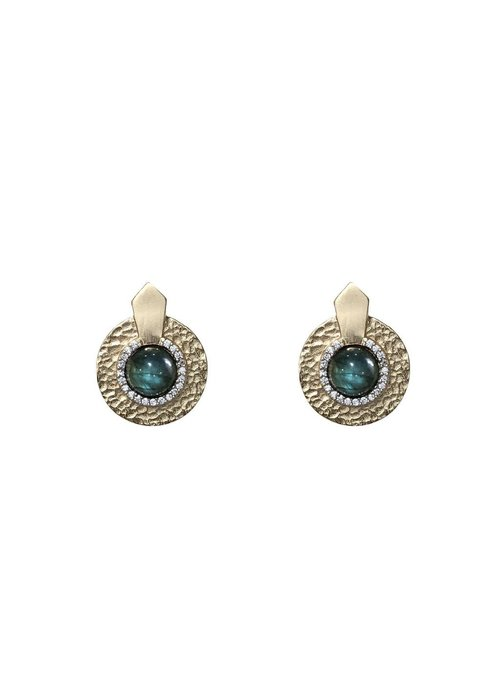 Tat2 Tat2 Gold Labradorite Hammered Mini Circular Shield Earrings