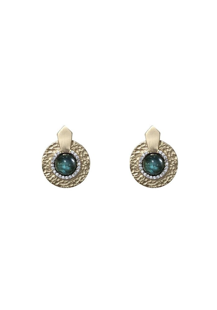 Tat2 Gold Labradorite Hammered Mini Circular Shield Earrings