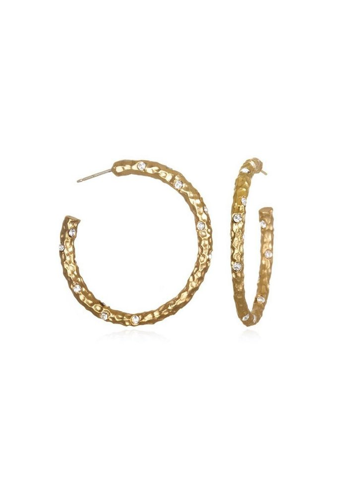 """TAT2 """"Pavia"""" 1.5"""" Hoop Earring - Gold Hammered/Clear Crystal"""