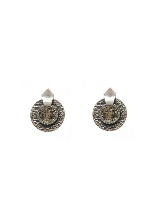 Tat2 Tat2 Vintage Silver Mini Hammered Circular Shield VG Dupre Earrings