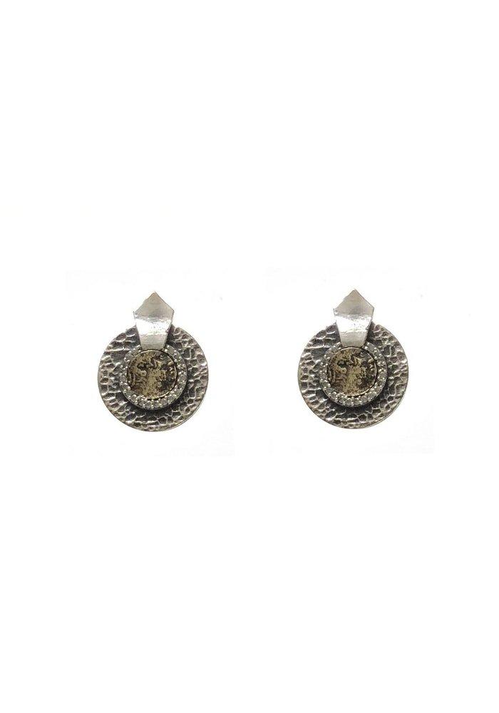 Tat2 Vintage Silver Mini Hammered Circular Shield VG Dupre Earrings