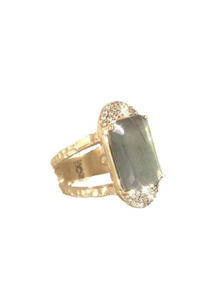 Tat2 Gold Kosar Emerald Cut Labradorite and Crystal Ring Size 6.5