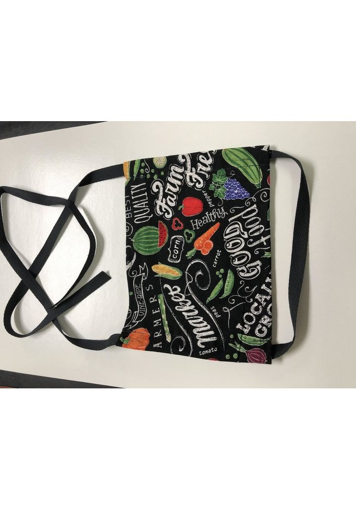Mask in market/food pattern fabric