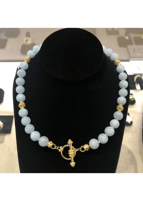 Mazza 10 mm Aquamarine Beads with 14k Gold Beads.