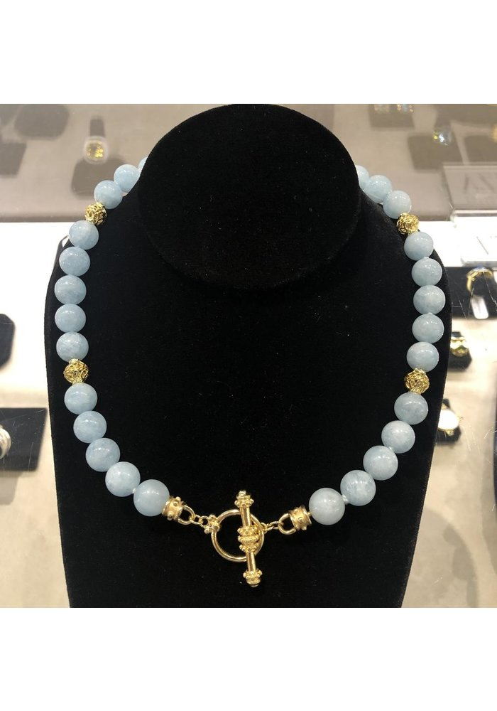 10 mm Aquamarine Beads with 14k Gold Beads.